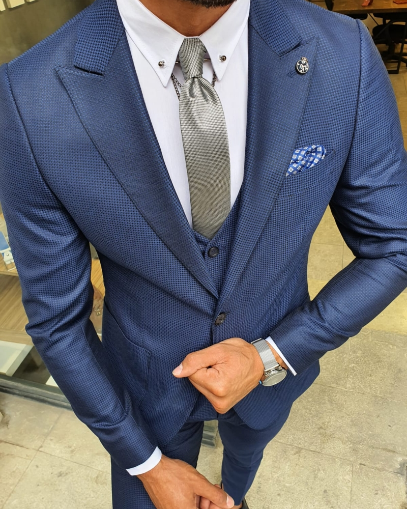 Sax Slim Fit Suit for Men by GentWith.com with Free Worldwide Shipping