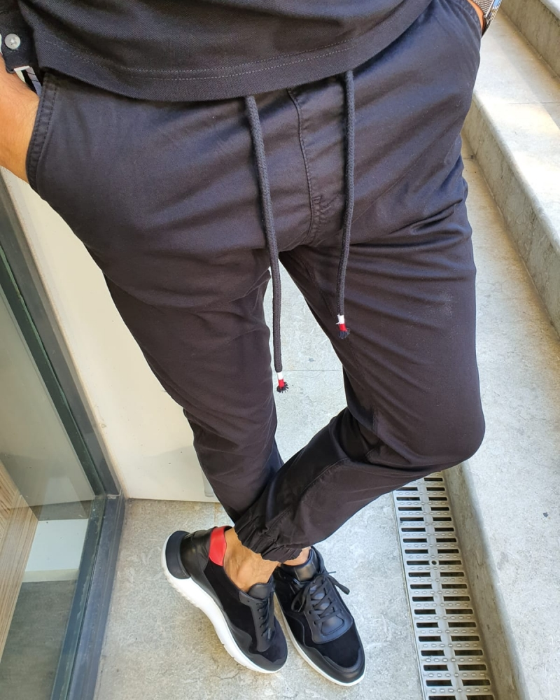 Black Slim Fit Laces Jeans for Men by GentWith.com with Free Worldwide Shipping