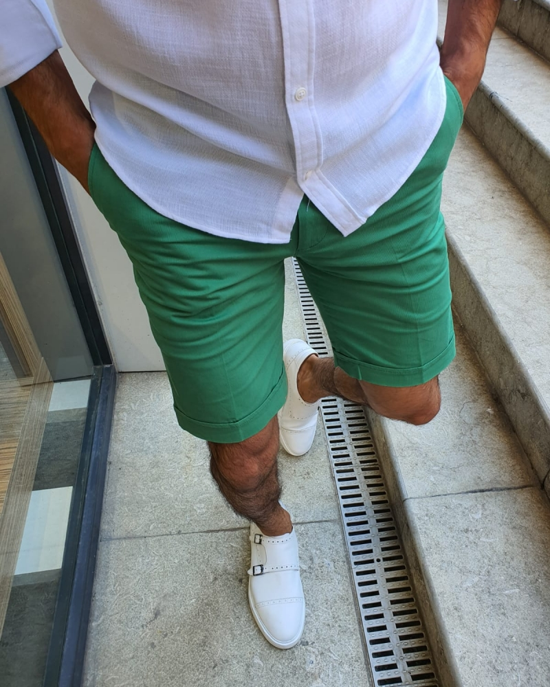 Green Slim Fit Shorts for Men by GentWith.com with Free Worldwide Shipping