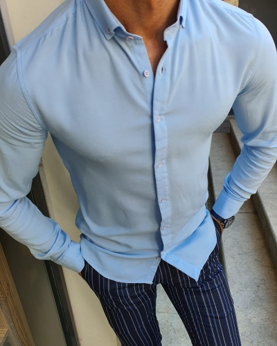 Blue Slim Fit Button Collar Shirt for Men by GentWith.com with Free Worldwide Shipping