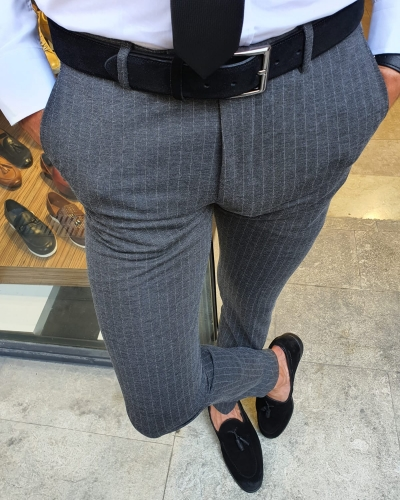 Anthracite Slim Fit Pinstripe Pants for Men by GentWith.com with Free Worldwide Shipping