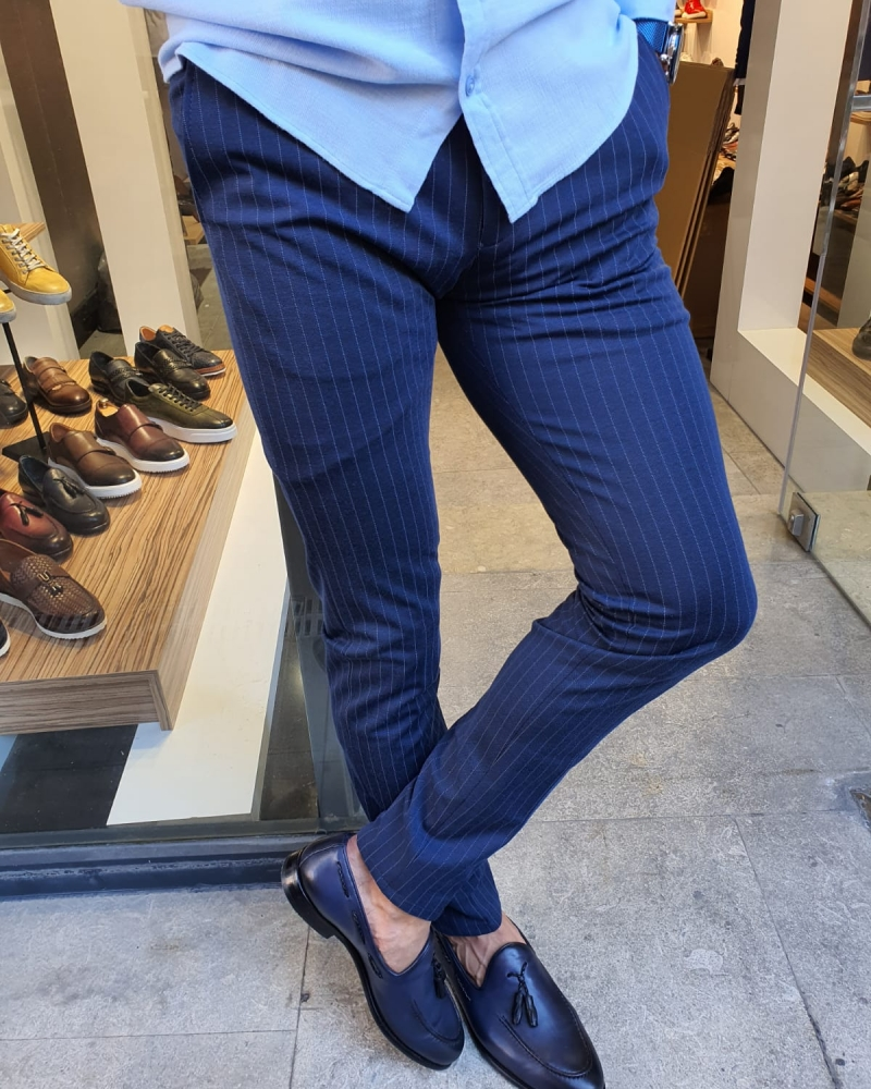 Indigo Slim Fit Pinstripe Pants for Men by GentWith.com with Free Worldwide Shipping