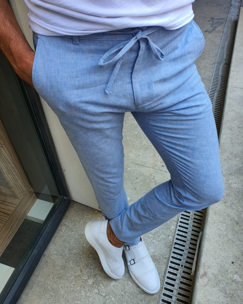 Blue Slim Fit Laced Pants for Men by GentWith.com with Free Worldwide Shipping