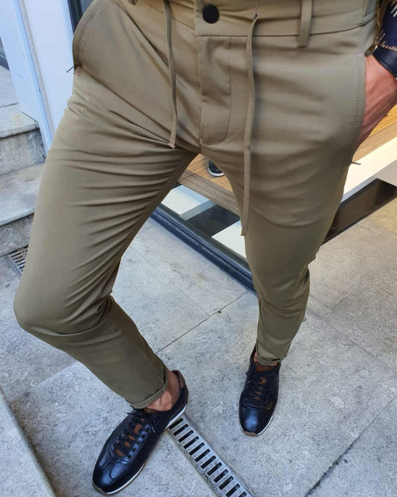 Khaki Slim Fit Laced Pants for Men by GentWith.com with Free Worldwide Shipping