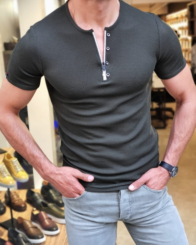 Khaki Slim Fit Round Neck Zipper T-Shirt for Men by GentWith.com with Free Worldwide Shipping