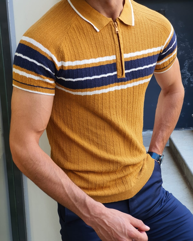 Mustard Slim Fit Collar Neck Zipper Knitwear T-Shirt for Men by GentWith.com with Free Worldwide Shipping