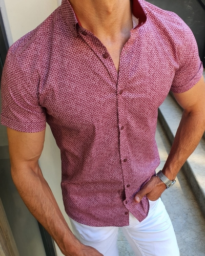 Claret Red Slim Fit Short Sleeve Shirt for Men by GentWith.com with Free Worldwide Shipping
