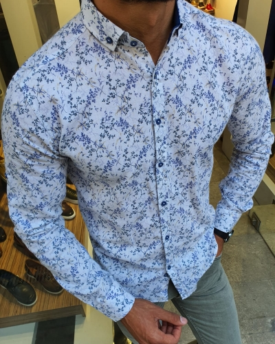 White Slim Fit Floral Shirt for Men by GentWith.com with Free Worldwide Shipping