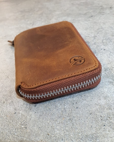 Camel Zippered Leather Wallet for Men by GentWith.com with Free Worldwide Shipping