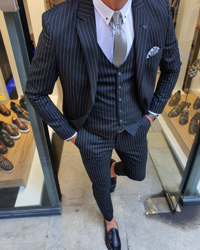 Black Slim Fit Pinstripe Suit for Men by GentWith.com with Free Worldwide Shipping