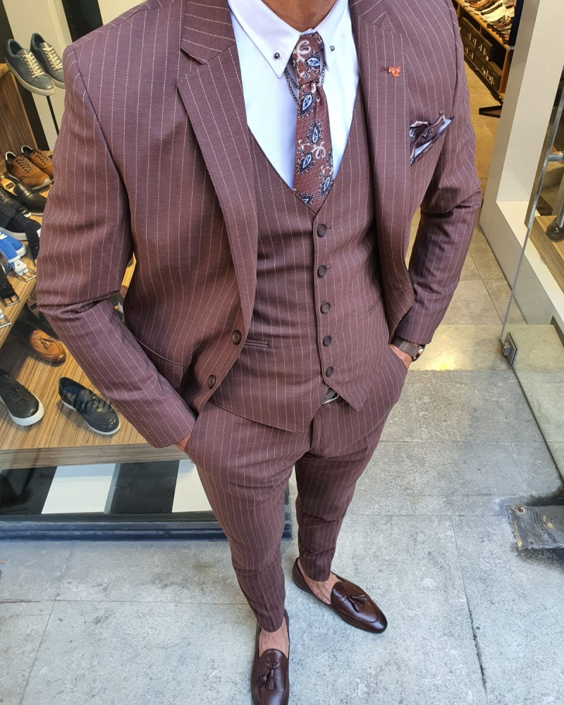 Camel Slim Fit Pinstripe Suit for Men by GentWith.com with Free Worldwide Shipping
