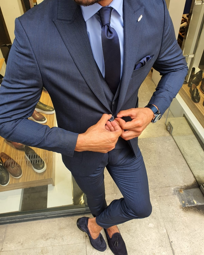 Navy Blue Slim Fit Suit for Men by GentWith.com with Free Worldwide Shipping