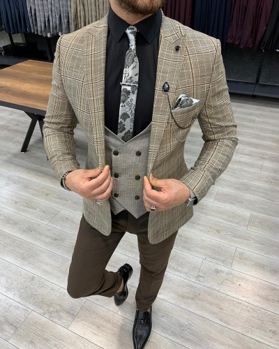 Coffee Slim Fit Plaid Suit for Men by GentWith.com with Free Worldwide Shipping