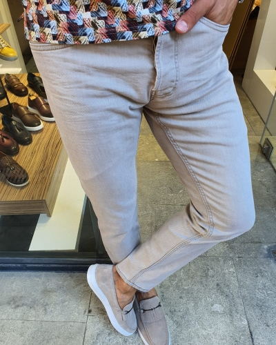 Beige Slim Fit Handmade Jeans for Men by GentWith.com with Free Worldwide Shipping