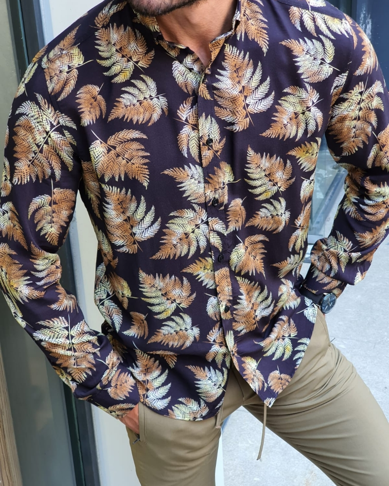 Black Slim Fit Floral Shirt for Men by GentWith.com with Free Worldwide Shipping