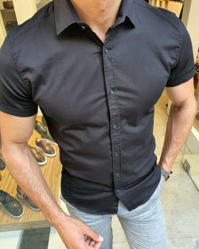 Black Slim Fit Short Sleeve Shirt for Men by GentWith.com with Free Worldwide Shipping
