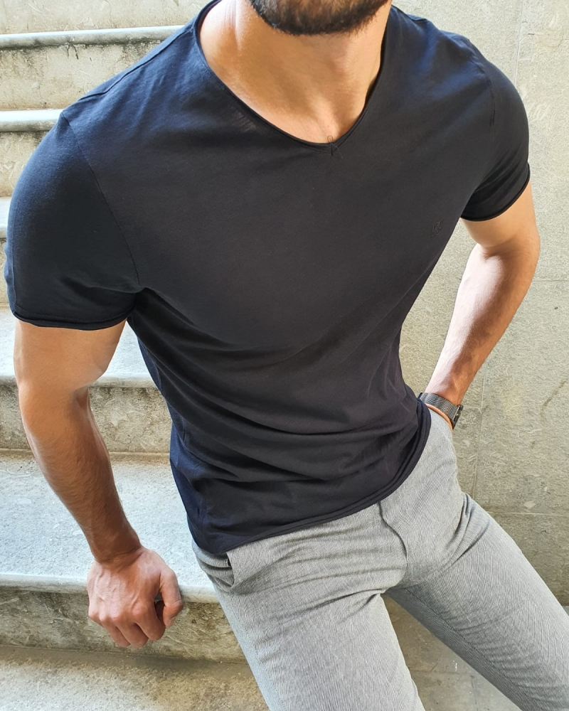 Black Slim Fit T-Shirt for Men by GentWith.com with Free Worldwide Shipping