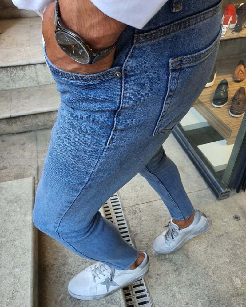 Blue Slim Fit Handmade Jeans for Men by GentWith.com with Free Worldwide Shipping