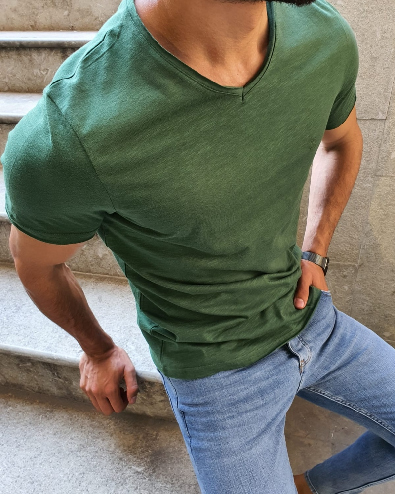 Green Slim Fit T-Shirt for Men by GentWith.com with Free Worldwide Shipping