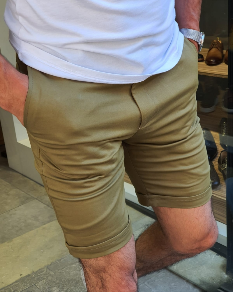 Khaki Slim Fit Shorts for Men by GentWith.com with Free Worldwide Shipping