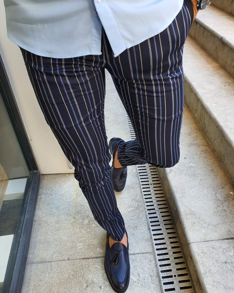 Navy Blue Slim Fit Pinstripe Pants for Men by GentWith.com with Free Worldwide Shipping