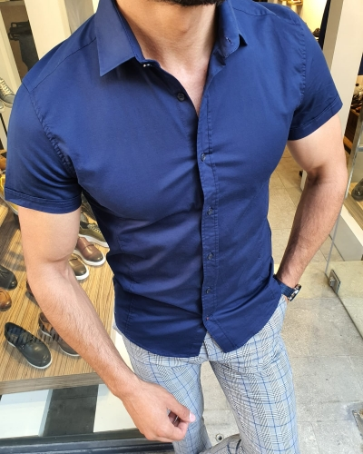 Navy Blue Slim Fit Short Sleeve Shirt for Men by GentWith.com with Free Worldwide Shipping