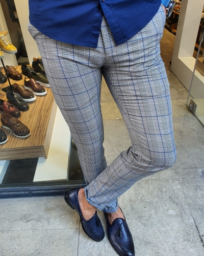 Sax Slim Fit Plaid Pants for Men by GentWith.com with Free Worldwide Shipping