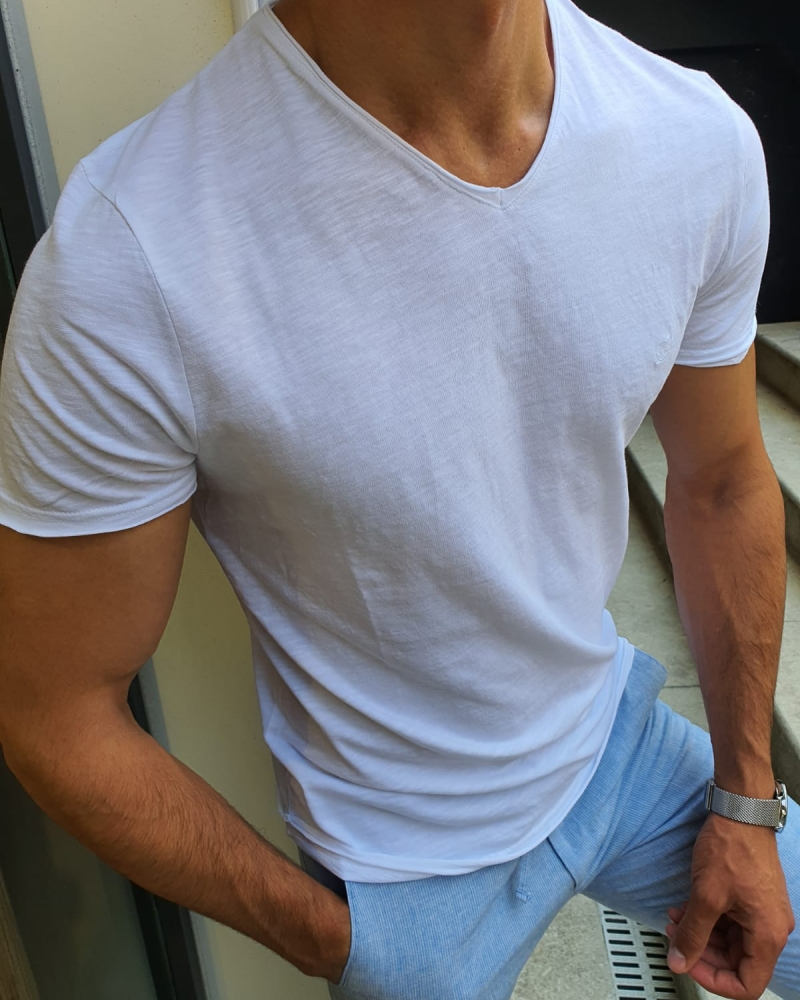 white Slim Fit T-Shirt for Men by GentWith.com with Free Worldwide Shipping