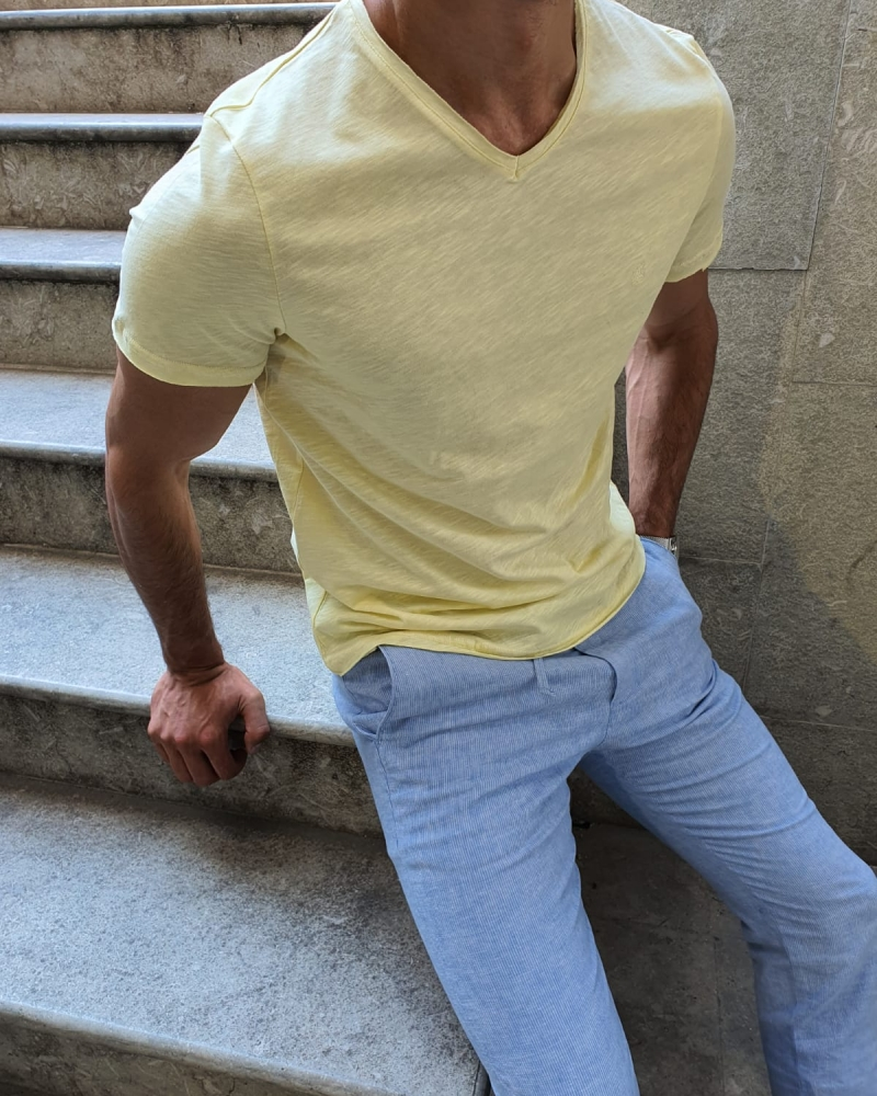 Yellow Slim Fit T-Shirt for Men by GentWith.com with Free Worldwide Shipping