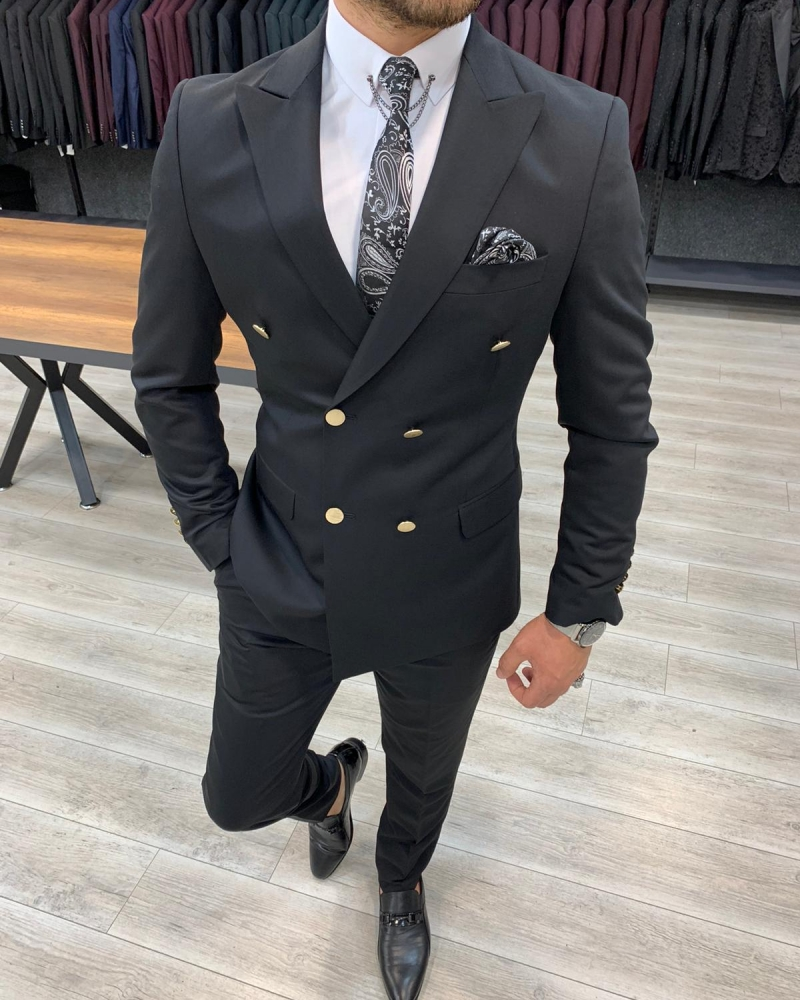 Black Slim Fit Double Breasted Suit by GentWith.com with Free Worldwide Shipping