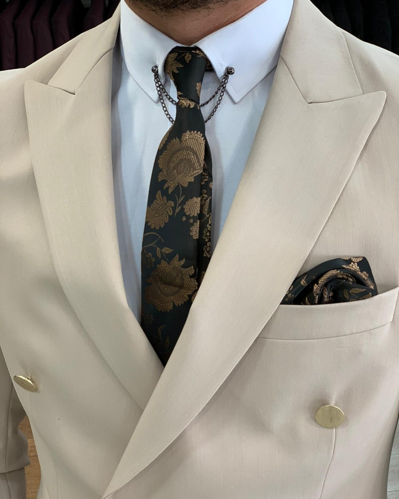 Cream Double Breasted Suit by GentWith.com with Free Worldwide Shipping