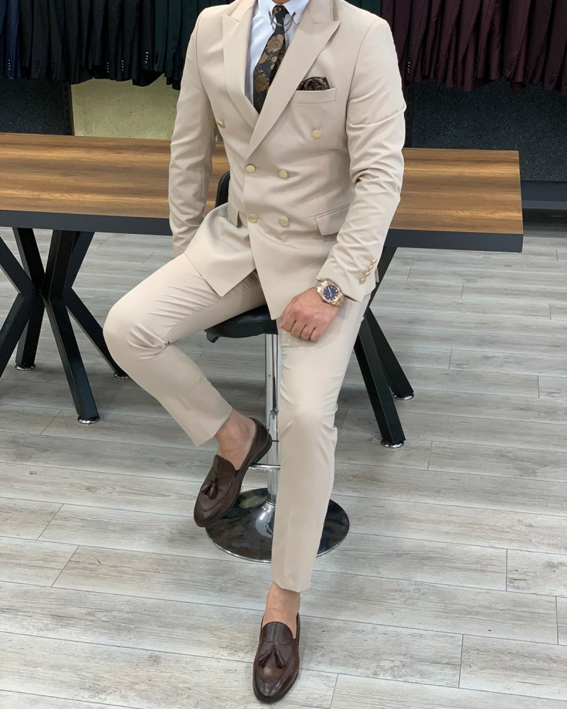 Cream Slim Fit Double Breasted Suit by GentWith.com with Free Worldwide Shipping
