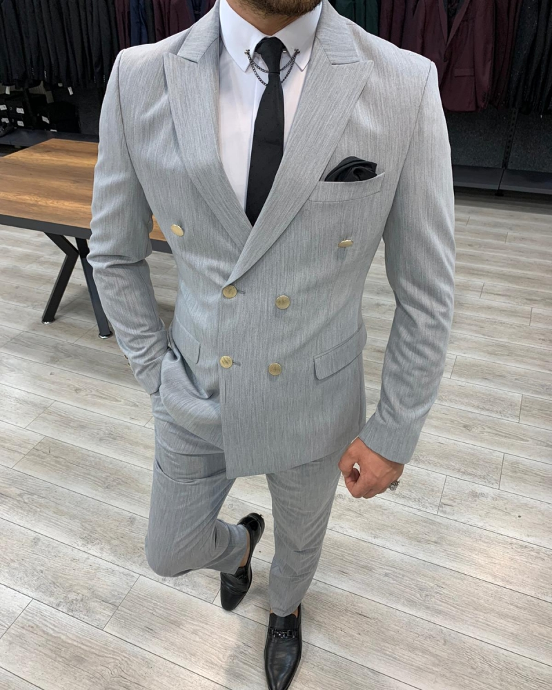 Gray Slim Fit Double Breasted Suit by GentWith.com with Free Worldwide Shipping