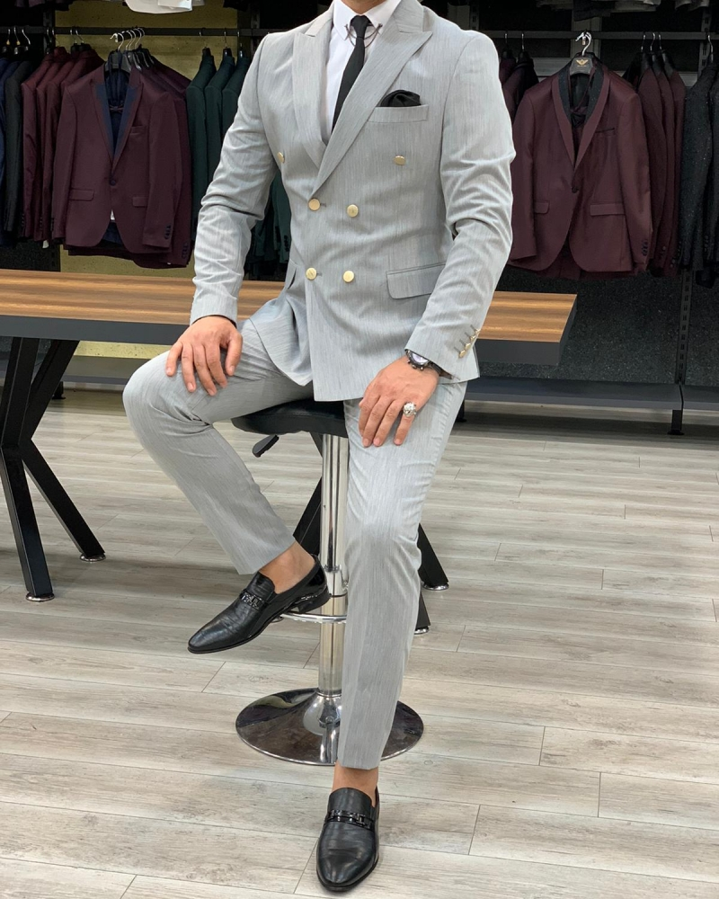 Gray Double Breasted Suit by GentWith.com with Free Worldwide Shipping