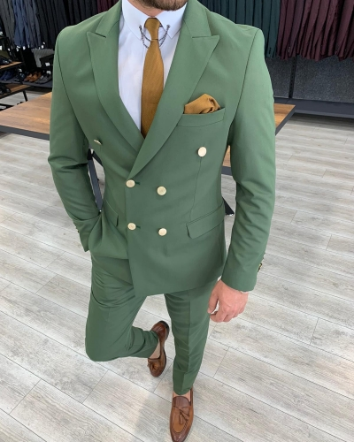 Green Double Breasted Suit by GentWith.com with Free Worldwide Shipping