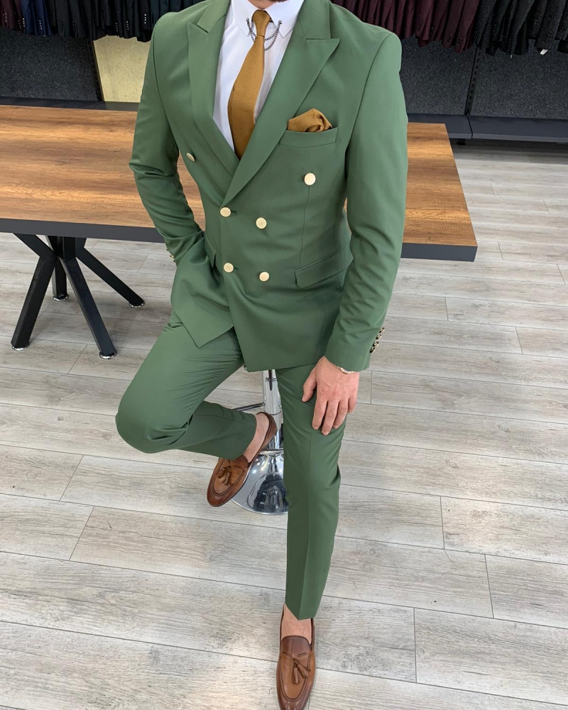 Green Slim Fit Double Breasted Suit by GentWith.com with Free Worldwide Shipping