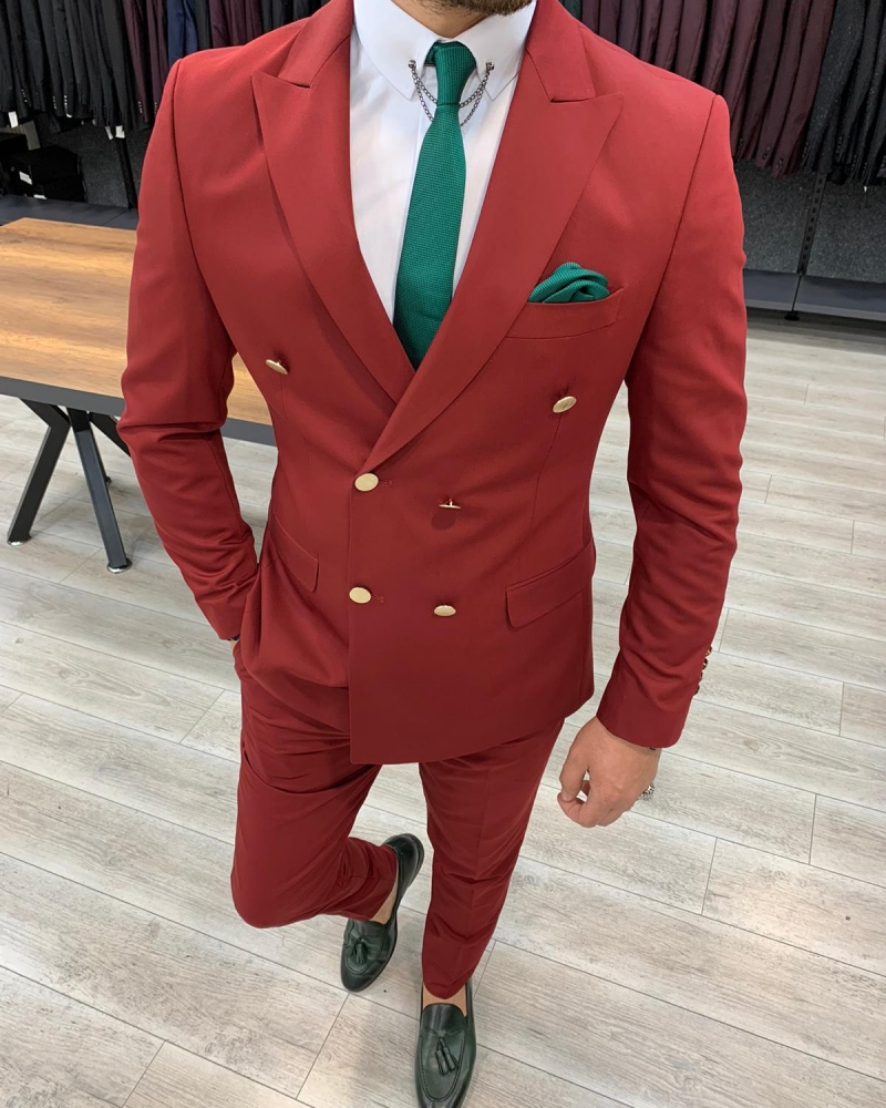 Maroon Slim Fit Double Breasted Suit by GentWith.com with Free Worldwide Shipping
