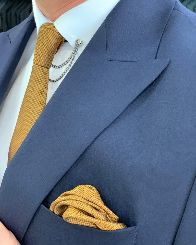 Navy Blue Double Breasted Suit by GentWith.com with Free Worldwide Shipping