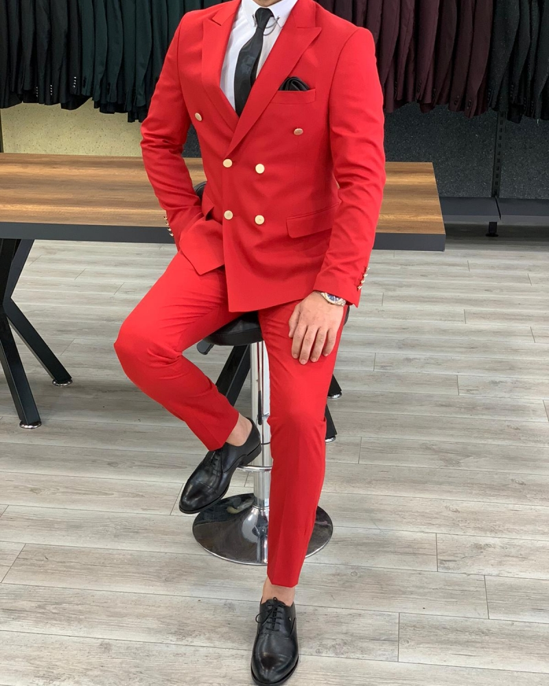 Red Double Breasted Suit by GentWith.com with Free Worldwide Shipping