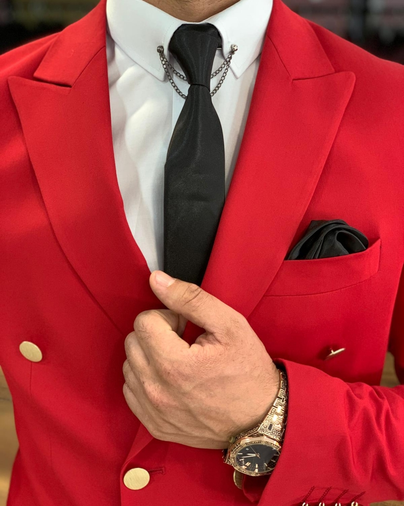 Red Slim Fit Double Breasted Suit by GentWith.com with Free Worldwide Shipping