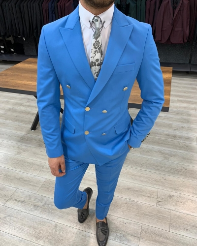 Turquoise Double Breasted Suit by GentWith.com with Free Worldwide Shipping