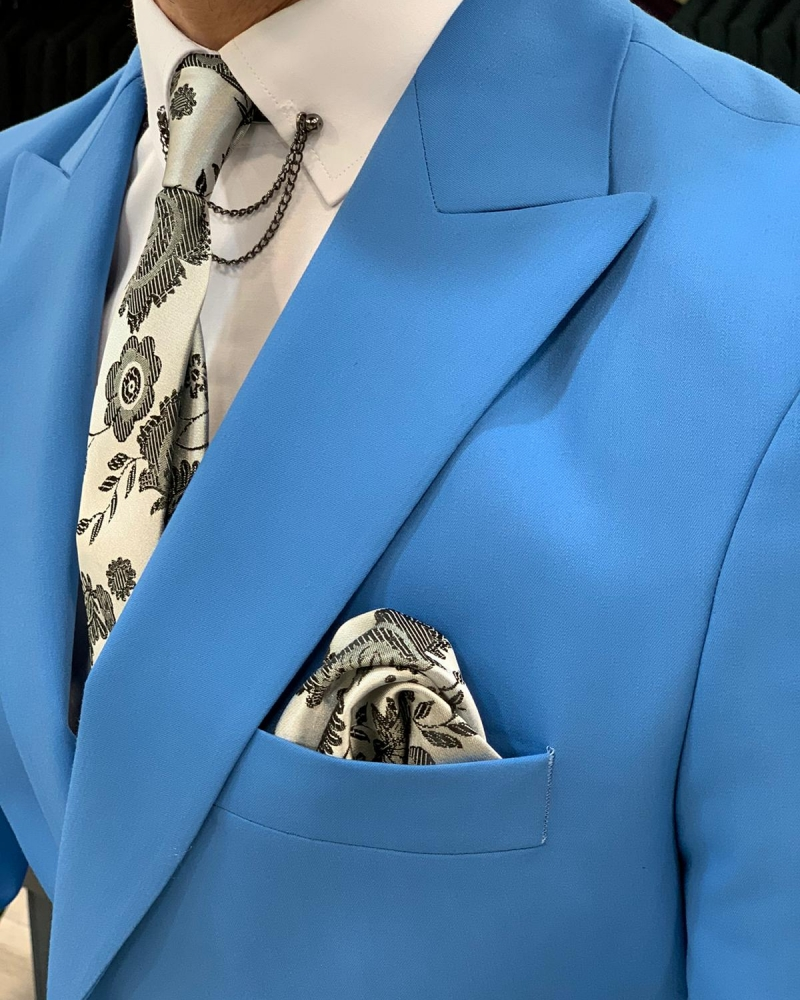 Turquoise Slim Fit Double Breasted Suit by GentWith.com with Free Worldwide Shipping