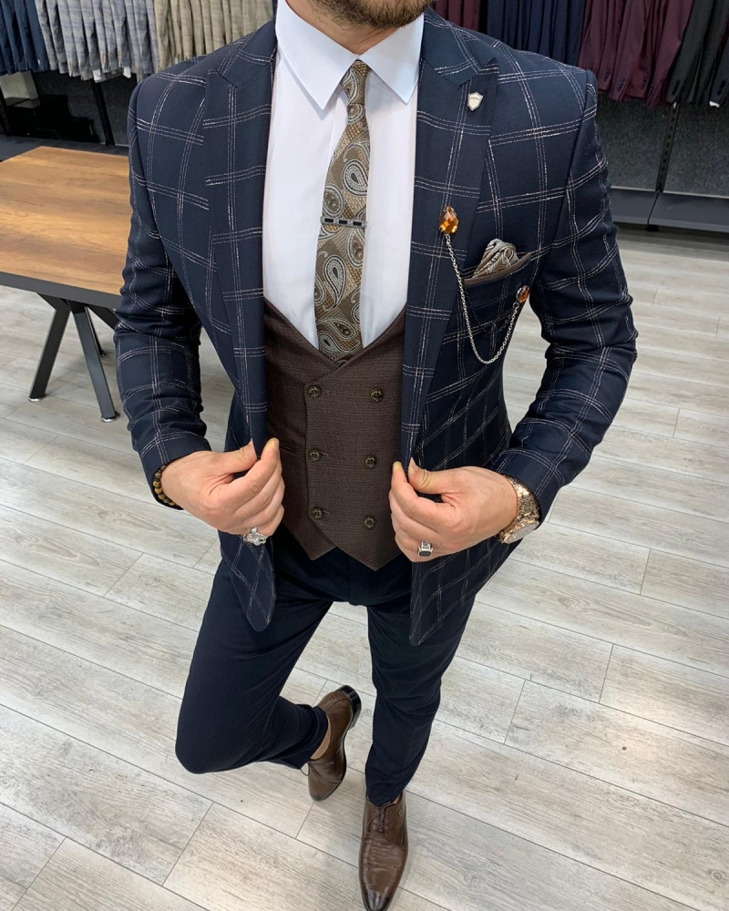 Dark Blue Slim Fit Plaid Suit for Men by GentWith.com with Free Worldwide Shipping