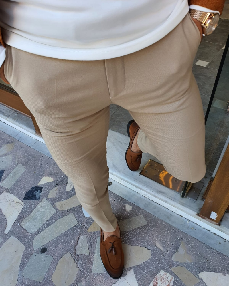 Beige Slim Fit Pants by GentWith.com with Free Worldwide Shipping