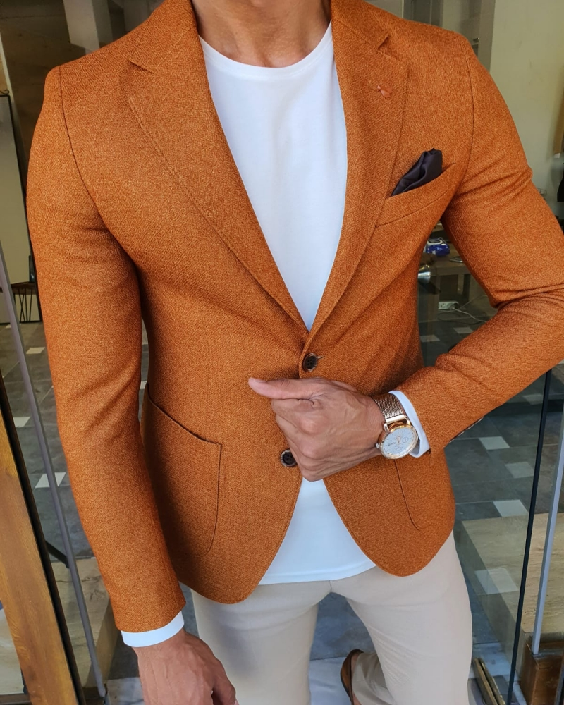 Camel Slim Fit Blazer by GentWith.com with Free Worldwide Shipping