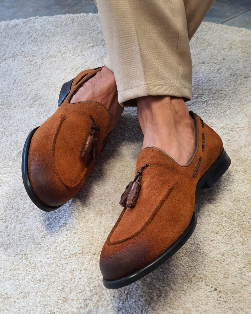 Tan Suede Tassel Loafers by GentWith.com with Free Worldwide Shipping