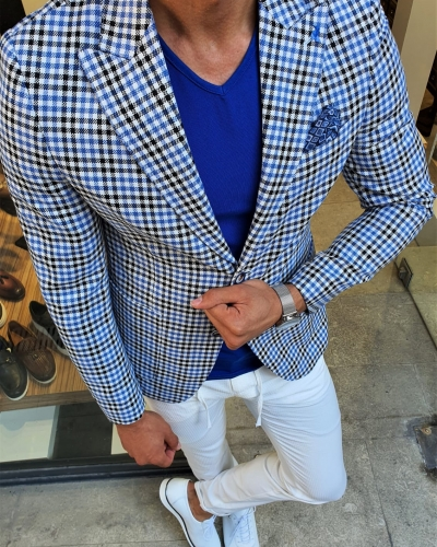 Sax Slim Fit Plaid Blazer by GentWith.com with Free Worldwide Shipping