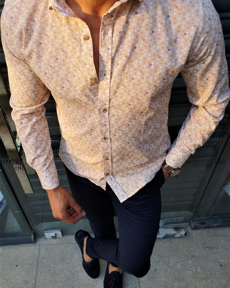Beige Slim Fit Patterned Cotton Shirt by GentWith.com with Free Worldwide Shipping