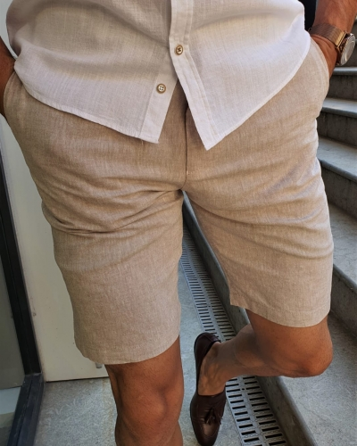 Beige Slim Fit Shorts by GentWith.com with Free Worldwide Shipping