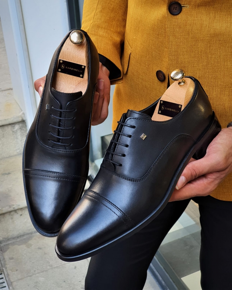 Black Cap Toe Wholecut Oxfords by GentWith.com with Free Worldwide Shipping
